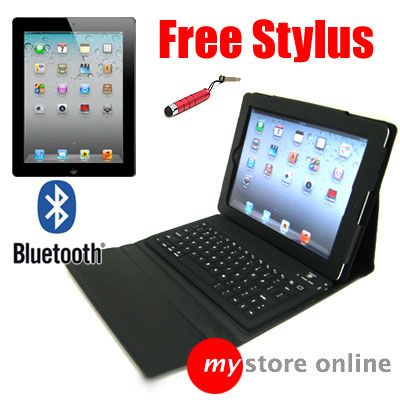 Leather Case Bluetooth Wireless Keyboard Stand 4 Apple iPad 2 BLACK Folio