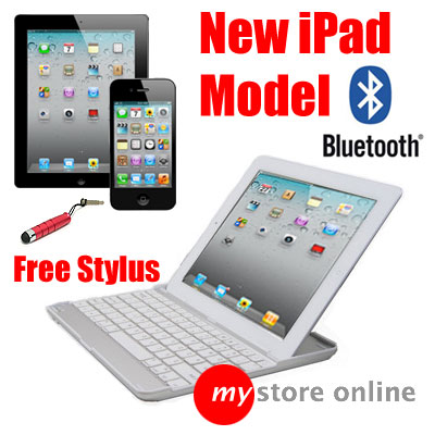 3 in1 Aluminium Bluetooth Wireless Keyboard Case Cover Dock 4 Apple iPad 2 WHITE